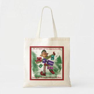 Christmas cartoon elf humoros gifts budget tote bag