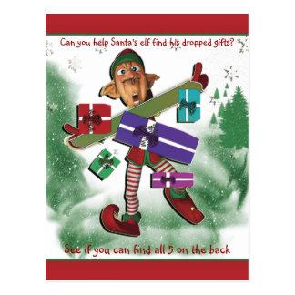 Christmas cartoon elf kids educational fun postcard