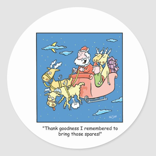 Christmas Cartoon Flat Reindeer Classic Round Sticker
