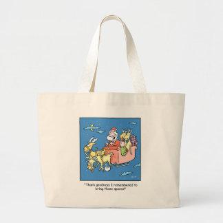 Christmas Cartoon Flat Reindeer Large Tote Bag
