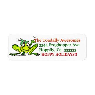 Christmas Cartoon Frog Address Label