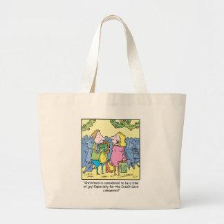 Christmas Cartoon Gift on Credit Large Tote Bag