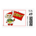 Christmas Cartoon Holiday Elf Postage Cheer Stamp