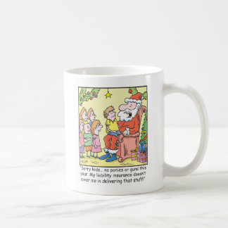 Christmas Cartoon Insurance for Santa Claus Coffee Mugs