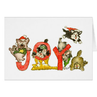 Christmas Cartoon Kitten Cats JOY CARD