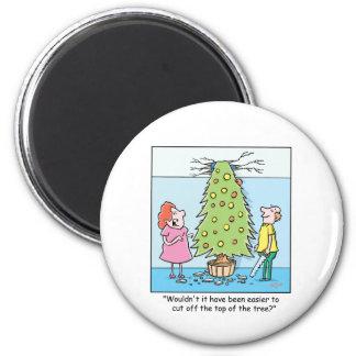 Christmas Cartoon Oversized Tree 2 Inch Round Magnet