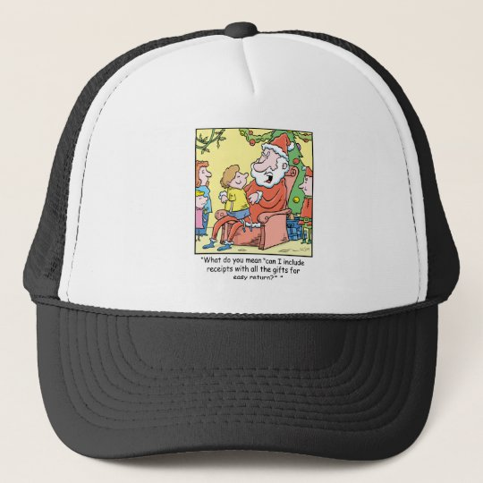 Christmas Cartoon Santa Claus Receipts Trucker Hat