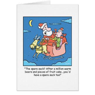 Christmas Cartoon Santa Claus Sick Greeting Card