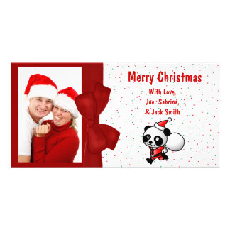 Christmas Cartoon Santa Panda Bear Photo Card
