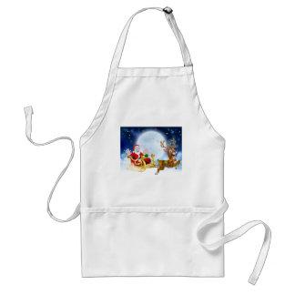 Christmas Cartoon Santa Reindeer Sleigh Scene Adult Apron