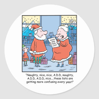 Christmas Cartoon Santa s Good and Bad list Sticker