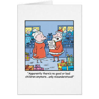 Christmas Cartoon Santas Good and Bad List Card