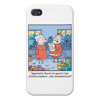 Christmas Cartoon Santas Good and Bad List Case For iPhone 4