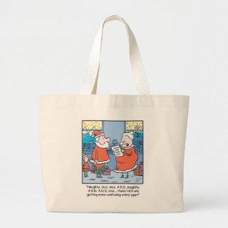 Christmas Cartoon Santa's Good and Bad list. Large Tote Bag