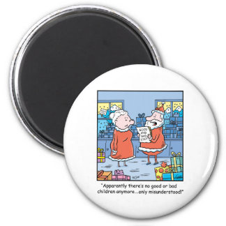 Christmas Cartoon Santas Good and Bad List 2 Inch Round Magnet