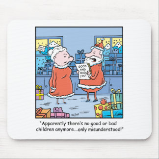 Christmas Cartoon Santas Good and Bad List Mouse Pad