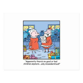Christmas Cartoon Santas Good and Bad List Postcard