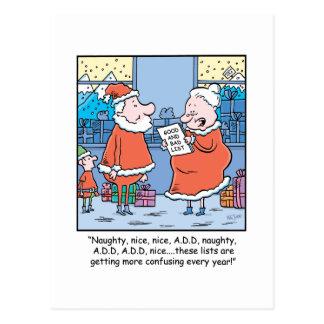 Christmas Cartoon Santa's Good and Bad list. Postcard