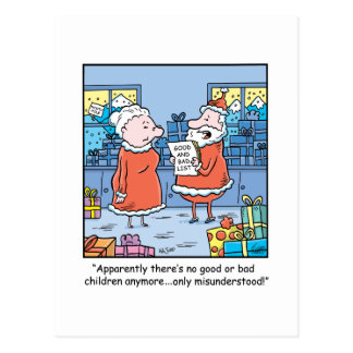 Christmas Cartoon Santas Good and Bad List Postcard