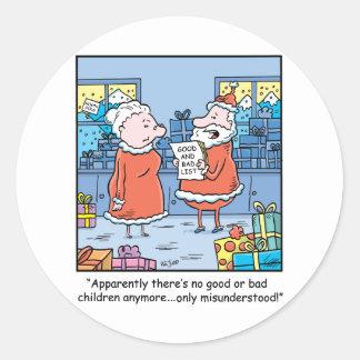 Christmas Cartoon Santas Good and Bad List Round Sticker