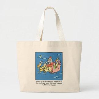 Christmas Cartoon Santas Night Vision Glasses Large Tote Bag