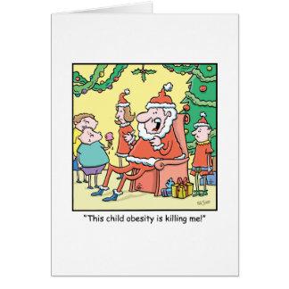 Christmas Cartoon Santas Obesity Problems Card