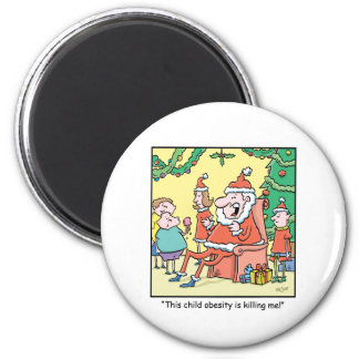 Christmas Cartoon Santas Obesity Problems Magnet