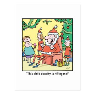 Christmas Cartoon Santas Obesity Problems Postcard