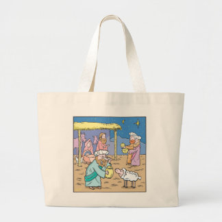 Christmas Cartoon  The Three Wise Kings Large Tote Bag