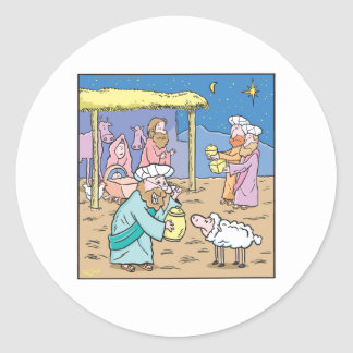 Christmas Cartoon  The Three Wise Kings Classic Round Sticker