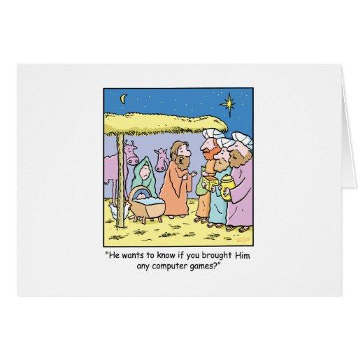 Christmas Cartoon Three Wise Kings Computer Games Greeting Card