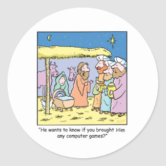 Christmas Cartoon Three Wise Kings Computer Games Classic Round Sticker