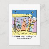 Christmas Cartoon Three Wise Kings Computer Games Holiday Postcard