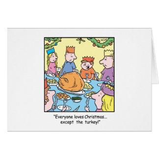Christmas Cartoon Turkey Dinner Card