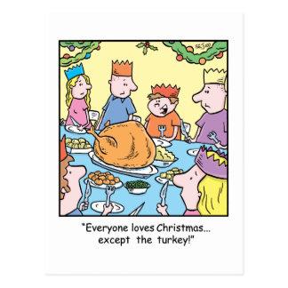Christmas Cartoon Turkey Dinner Postcard