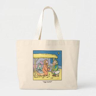 Christmas Cartoon Ugg Boots Large Tote Bag