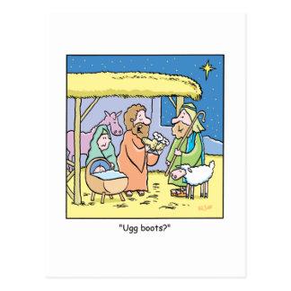 Christmas Cartoon Ugg Boots Postcard