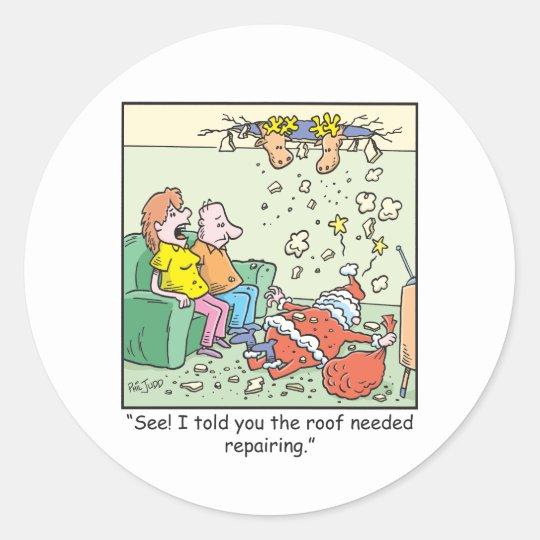 Christmas Cartoons Santa Drops By Classic Round Sticker