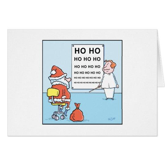 Christmas Cartoons Santa's Eye Test Card