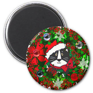 Christmas Cat 2 Inch Round Magnet