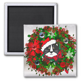 Christmas Cat 2 Inch Square Magnet