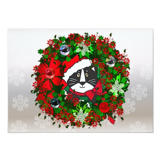 Christmas Cat 5x7 Paper Invitation Card
