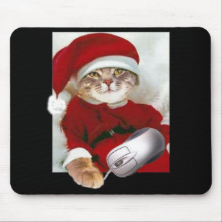 Christmas Cat and Computer Mouse Mouse Pad