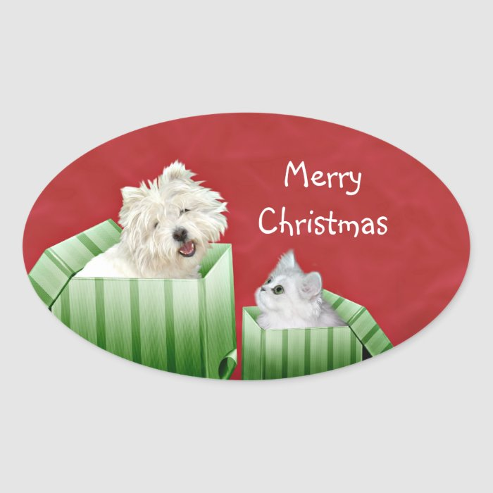 Christmas cat and dog oval sticker