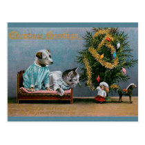 CHRISTMAS cat and dog Postcard