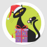 Christmas Cat and Mouse Classic Round Sticker