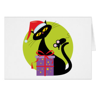 Christmas Cat and Mouse Greeting Card