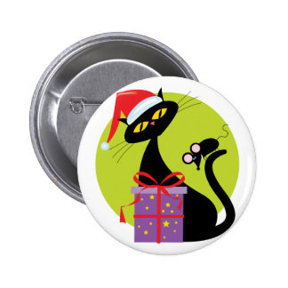 Christmas Cat and Mouse Pinback Button