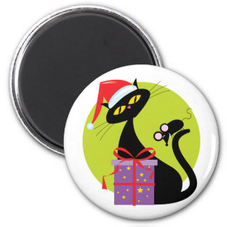 Christmas Cat and Mouse Refrigerator Magnet