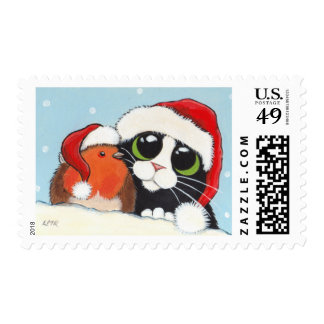 Christmas Cat and Robin - Medium Postage